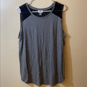 OLD NAVY Gray Tank w/ Black Eyelet Shoulder Detail